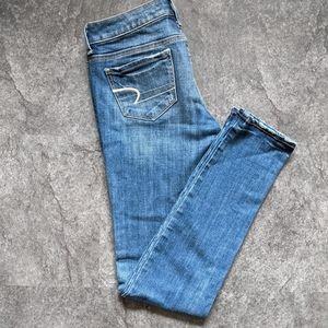 American Eagle faded wash stretch skinny jeans